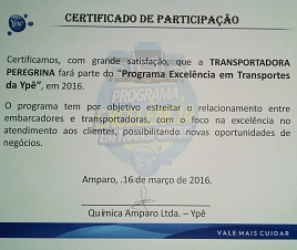 Transportadora peregrina recebe certificado do programa de excelência em transportes da ypê